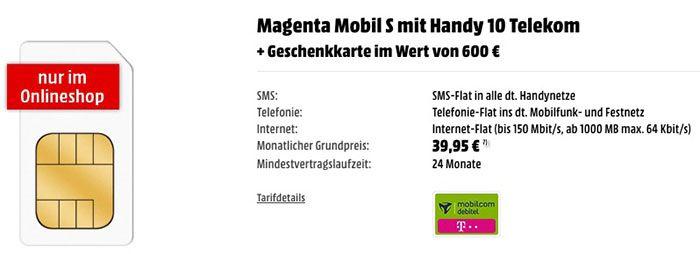 Magenta Mobil S Allnet Flat mit 1GB LTE + 600€ Media Markt Gutschein für 39,95€mtl.