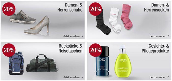 20% auf Schuhe, Socken, Taschen & Pflegeprodukte bei Galeria Kaufhof