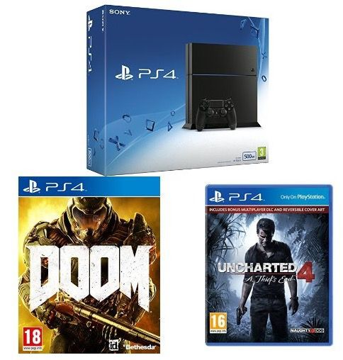 Playstation 4 (500 GB) + Doom + Uncharted 4: A Thief's End für 353,37€ (statt 414€)