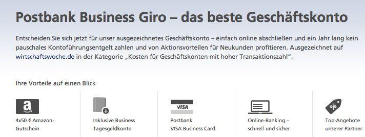 Postbank Business Giro mit bis zu 200€ Amazon.de Gutscheinprämie