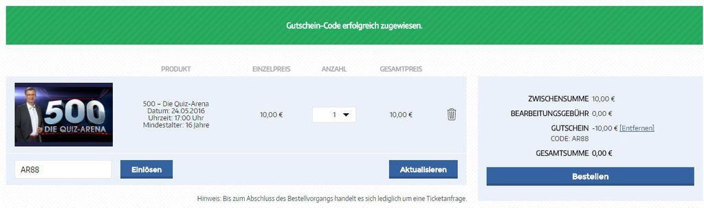 Quiz Arena Gutschein 1024x303 Freikarten für die Quizshow 500   Die Quiz Arena mit Günther Jauch