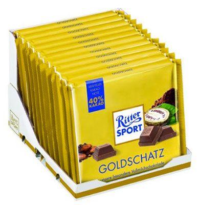 Ritter Sport Goldschatz 11er Pack Ritter Sport Goldschatz Tafelschokolade ab 12,44€ (statt 27€)