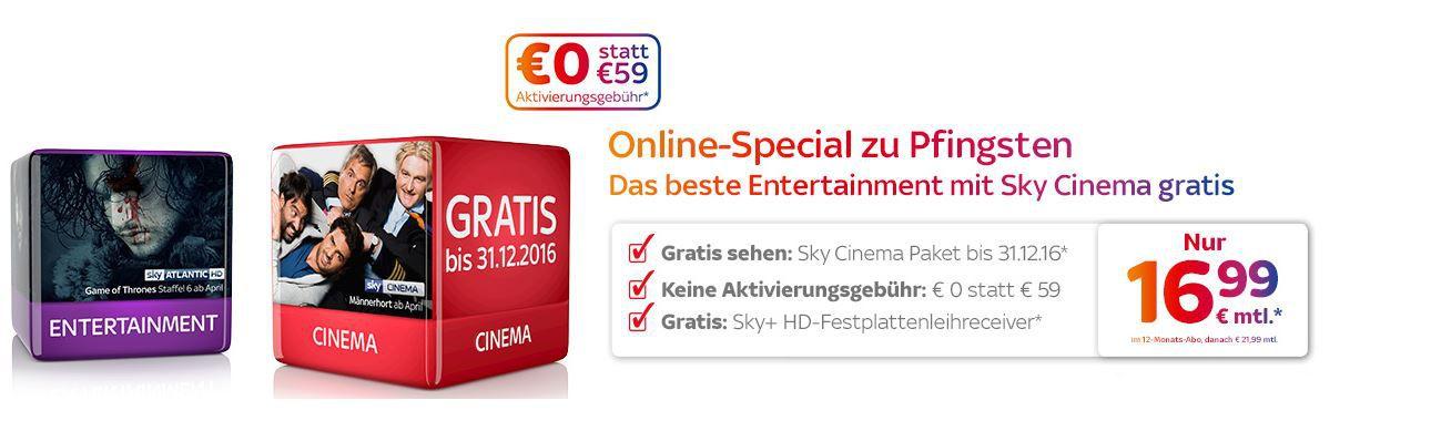 Sky Entertainment + Cinema + Sky Go + Sky On Demand + HD Festplattenreceiver + 50€ Gutschein für 16,99€ mtl.