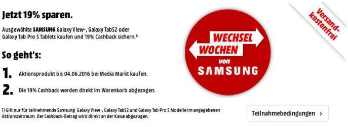 Samsung Aktion Banner 19% Rabatt auf ausgewählte Samsung Smartphones und Tablets