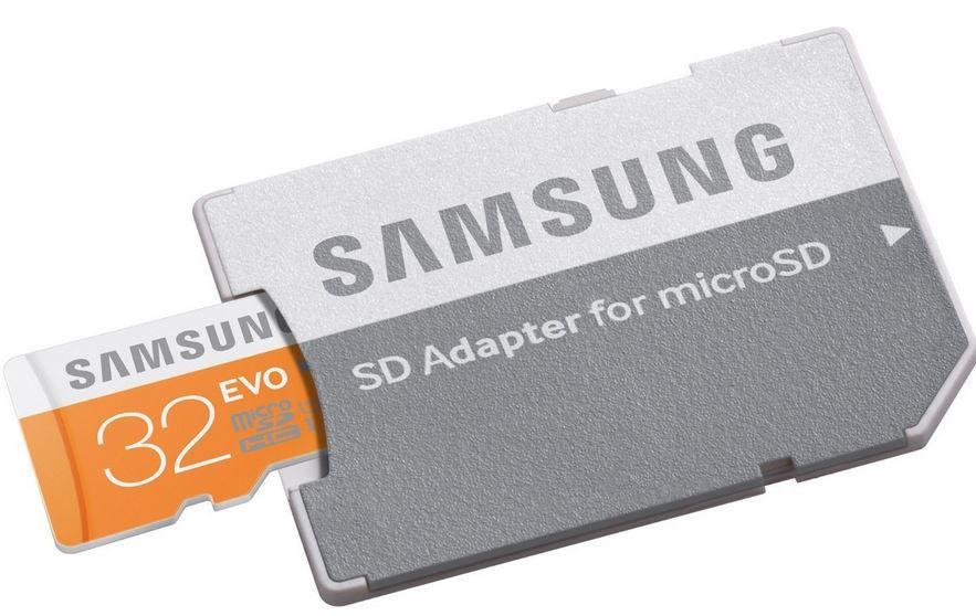Samsung microSDHC EVO Speicherkarte mit 32GB und Adapter nur 7€