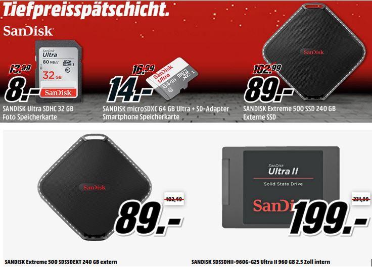 Media Markt Tiefpreisspätschicht mit günstigen SSD, USB Speicher Sticks, micro SD Karten