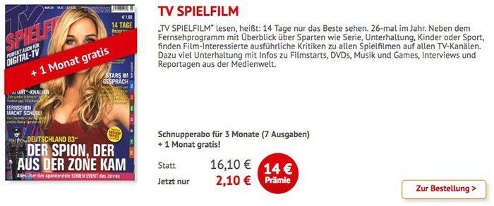 4 Monate TV Spielfilm für 2,10€ (statt 16€)
