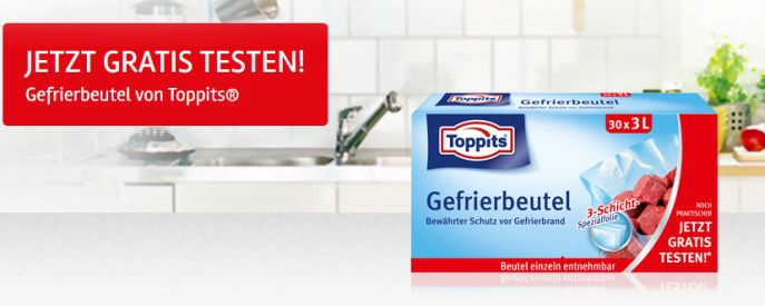 Toppits Gefrierbeutel gratis testen dank Geld zurück Garantie