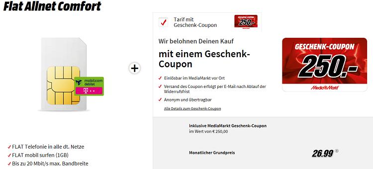 md Telekom Flat Allnet Comfort mit 1GB + 250€ Media Markt Gutschein für 26,99€mtl.