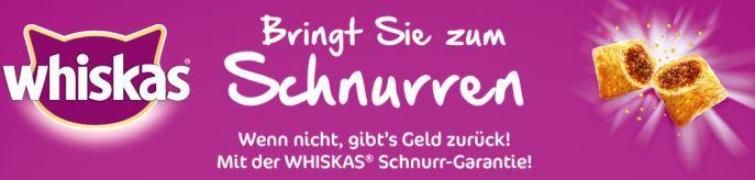 Whiskas Banner Bis zu 12kg Whiskas Trockenfutter gratis testen dank Geld zurück Garantie