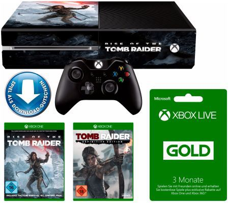 Xbox One 1TB + Rise of the Tomb Raider + Tomb Raider: Definitive ab 233€ (statt 304€)