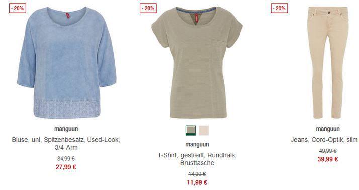 manguun Aktion mangunn   ausgewählte Damenkleidung mit 20% Rabatt Galeria Kaufhof
