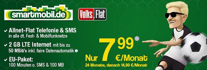 smartmobil Volks Flat smartmobil Allnet Flat + 2GB LTE + EU Paket für 7,99€ mtl.