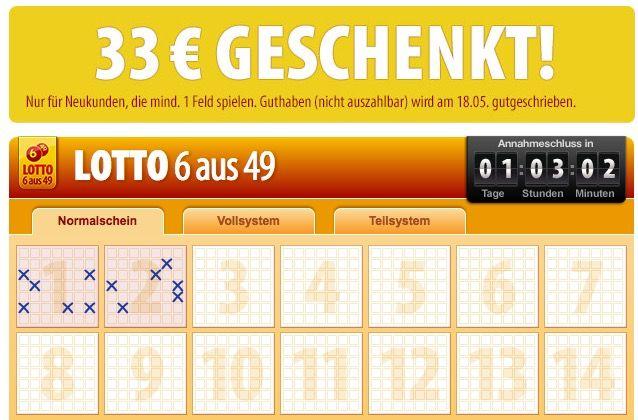 tipp241 TOP! 33€ Neukunden Guthaben bei Tipp24   nur 1 Lottofeld nötig!
