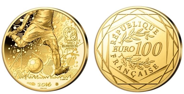 100 Euro Fussball EM Münze 100 Euro Goldmünze Fussball EM UEFA Frankreich für 119€