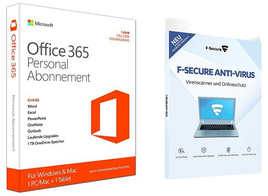 Microsoft Office 365 Personal + F Secure Anti Virus 2017 für 29,90€