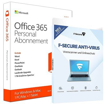 Microsoft Office 365 Personal + F Secure Anti Virus 2017 für 29,90€