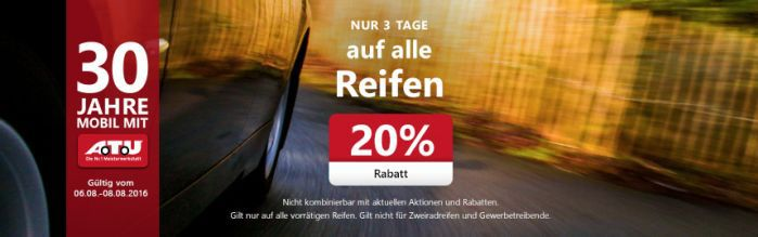 20% Rabatt auf alle lagernden Reifen (nur bis 08.08.)