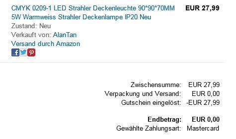 Amazon Fehler Fehler! LED Deckenleuchte statt 28€ mit Gutscheincode für 0,00€