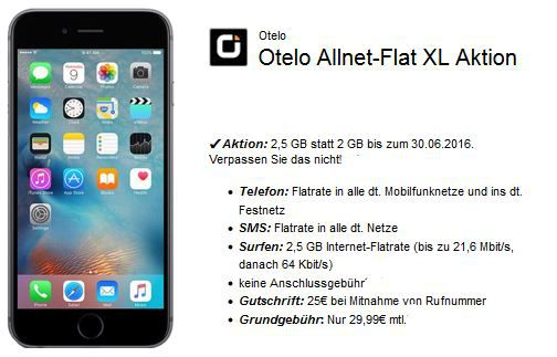 Apple 6s Vodafone Apple iPhone 6s + Otelo Allnet + SMS Flat + 2,5 GB für 29,99€ mtl.