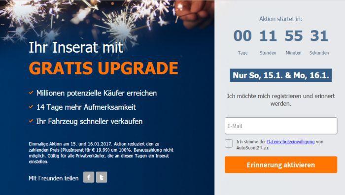 Autoscout24 Kostenloses Plus Inserat bei Autoscout24.de   nur am 15. und 16.01.17