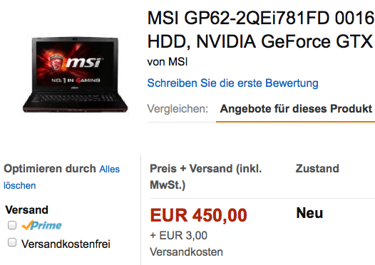 ABGELAUFEN! Preisfehler? MSI 15,6 Zoll Gaming Notebook für 453€ statt 889€
