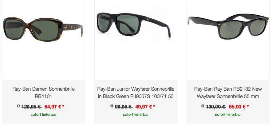 Bildschirmfoto 2016 06 08 um 15.36.38 Ray Ban Sonnenbrillen stark reduziert   z.B. Ray Ban RB2132 New Wayfarer Sonnenbrille statt 84€ für 54,95€