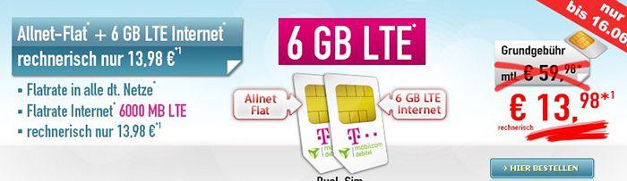 Letzter Tag! Telekom Allnet Flat mit 500MB + Telekom 6GB LTE Internet Flat für 13,98€ mtl.