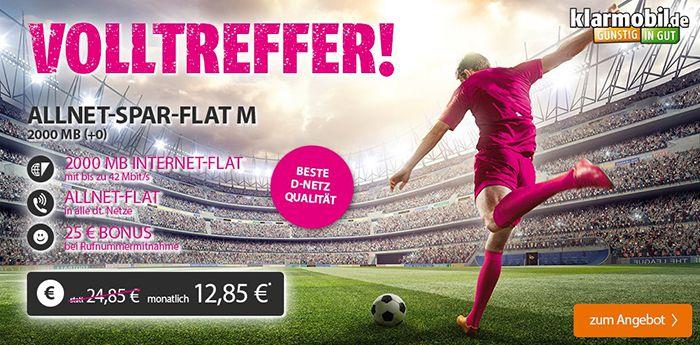 klarmobil Allnet Flat + 2GB im Telekom Netz für 12,85€ mtl.