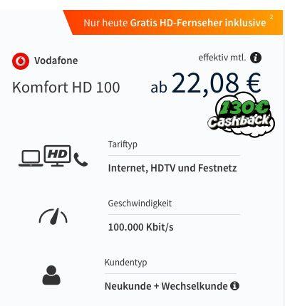 Bildschirmfoto 2016 06 28 um 15.35.36 Vodafone Komfort HD Kabel 100 (Inet, HDTV, Telefon) für eff. 22€ mtl. + gratis 32 Zoll Fernseher (Wert: 200€)