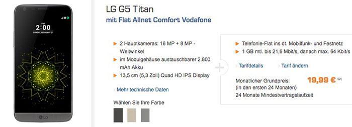 Vodafone Allnet Flat mit 1GB + LG G5 Titanium Smartphone (Wert 456€) für 19,99€ mtl.