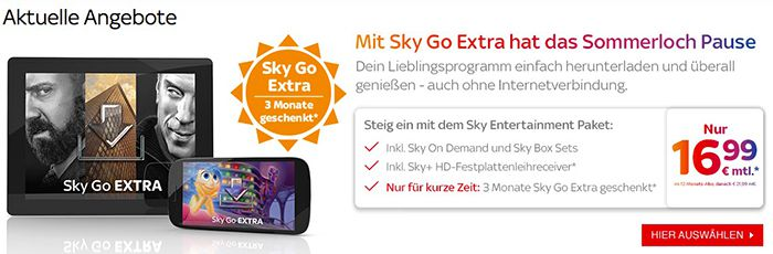 Sky Entertainment + gratis 3 Monate Sky Go Extra + Sky On Demand + Receiver für 16,99€ mtl.