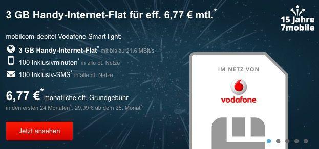 Vodafone Smart Light mit 100 Minuten/SMS + 3GB für 6,77€ mtl.   KNALLER!
