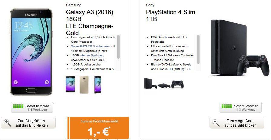 Bildschirmfoto 2016 10 13 um 13.33.03 Samsung Galaxy A3 + Playstation 4 slim 1TB + otelo Allnet Flat XL mit 2,5GB für 29,99€ mtl.