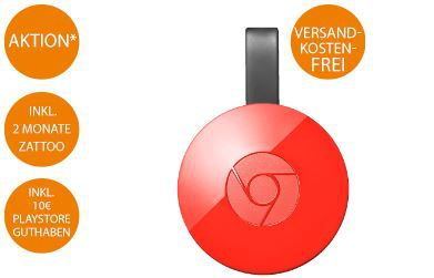 Chromecast Aktion Google Chromcast 2 + 10€ PlayStore Guthaben + 2 Monate ZATOO für 34€