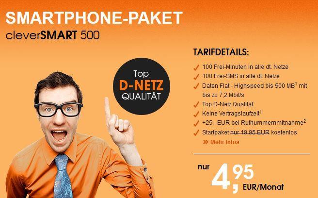 Clever Smart 500 Callmobile Clever Smart 500 (100 Min, 100 SMS + 500MB) für 4,95€ mtl. (ohne Laufzeit)   TOP!