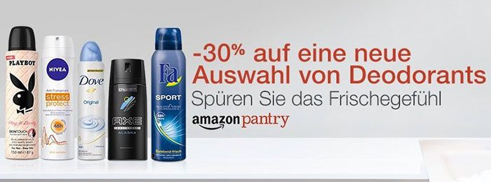 Deodorants 30% Rabatt auf die neue Auswahl an Deodorants bei Amazon Pantry