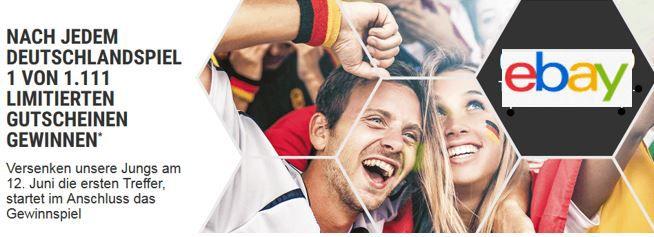 Ebay Gewinnspiel 1.100 eBay Gutscheine   50% Rabatt bei eBay nach Zahl der deutschen Tore