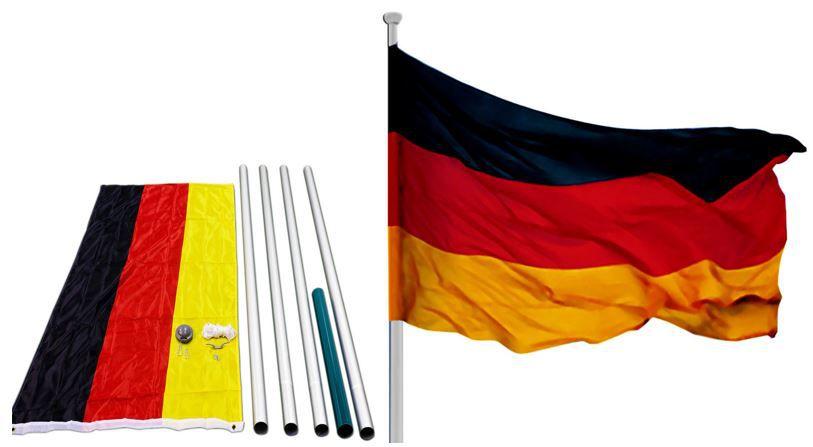 Fahnenmast 6,50m + Deutschlandfahne + Zubehör für 25,95€