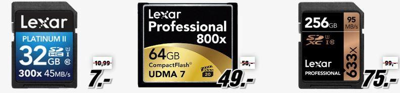 Foto SD Karten Speicherkarten, USB Sticks und Zubehör günstig in der Media Markt LEXAR Tiefpreisspätschicht