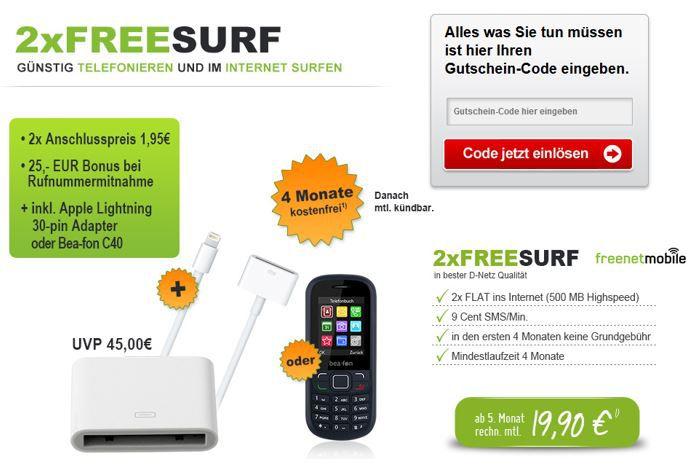 Free Surf Angbeot Apple Lightning Adapter auf Dock Connector für 4,90€ (statt 35€) dank 2 kostnix Verträgen