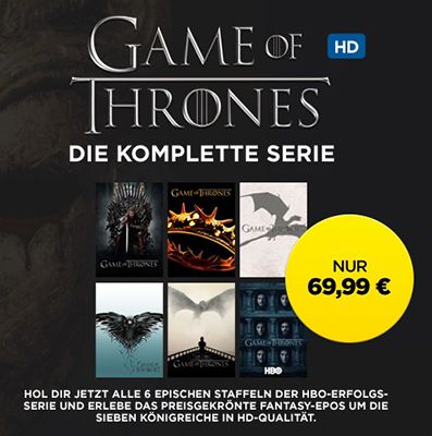 Game of Thrones Staffeln 1 6 in HD für 69,99€ (statt 120€)