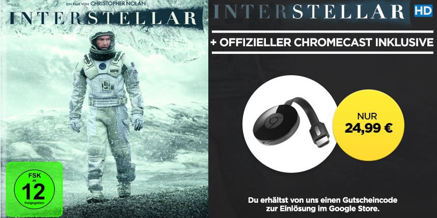 Google Chromecast 2 (2015) + Interstellar HD Stream für 23,99€
