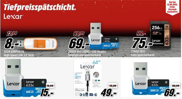 Speicherkarten, USB Sticks und Zubehör günstig in der Media Markt LEXAR Tiefpreisspätschicht