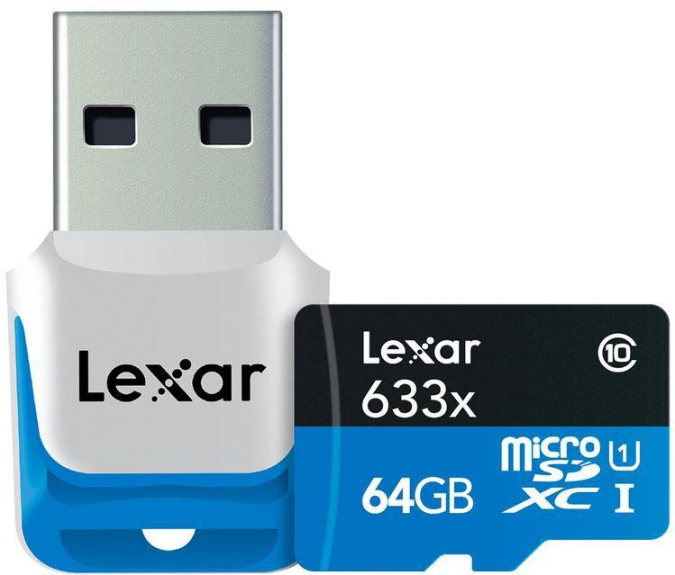 Lexar microSDXC 64GB LEXAR 633X   64GB microSDXC Karte mit Class 10 inkl. USB 3.0 Stick für 15€