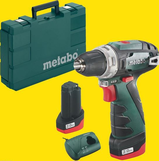 Metabo Powermaxx BS Basic Akku Schrauber + 2 Akkus 10,8 V   2,0 Ah + Ladegerät + Koffer für 92,99€