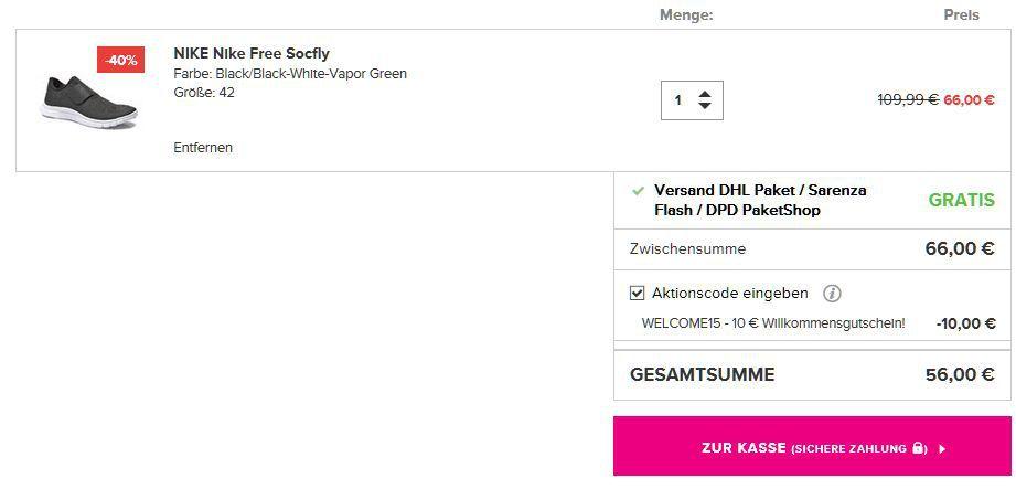 Nike Free Socfly Gutschein Nike Free Socfly für nur 56€ (statt 70€)