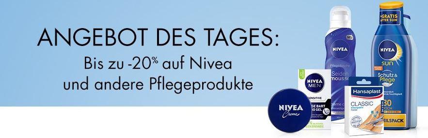 Nivea Tagesangebot 20% Rabatt auf ausgewählte Nivea Pflegeprodukte nur heute