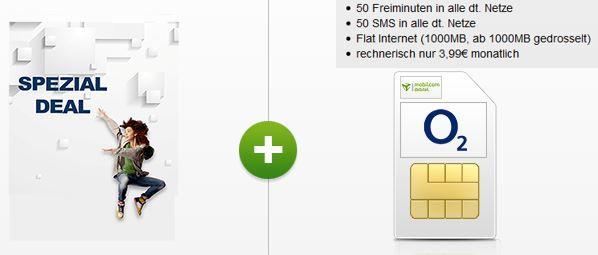 O² SMART Surf mit 50 Min + 50SMS + 1GB Daten Flat für 2,99€/mtl.