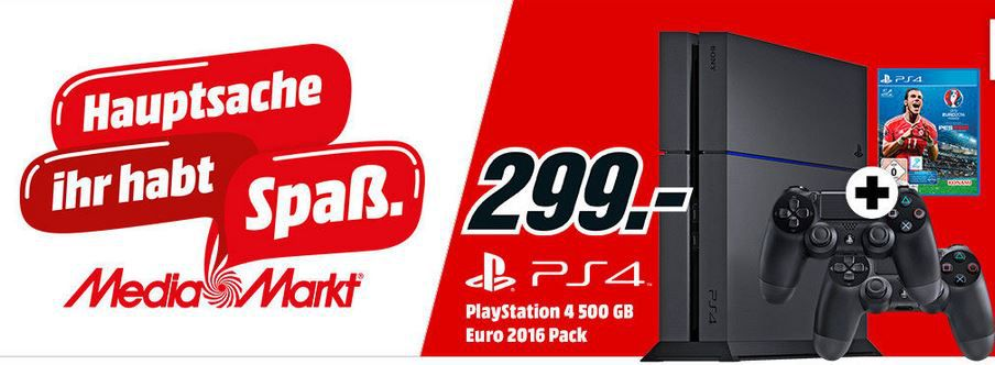 PlayStation 4 CUH 1216A + UEFA Euro 2016 + 2 Contr. für 299€   SONOS PLAY:3 für 249€   Media Markt Angebote